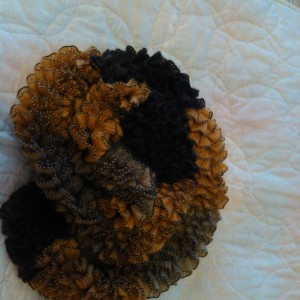 Brown tan ribbon scarf