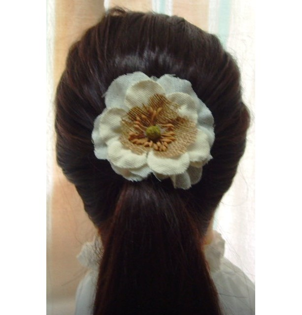 Natural White Burlap Flower Hair Barrette w/accents - Rustic Country Shabby chick for Women