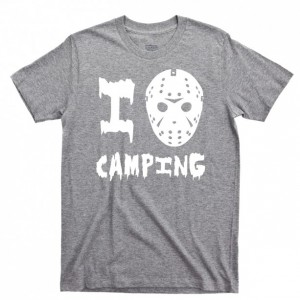 Friday The 13th Men's T Shirt, Jason Voorhees I Love Camping Camp Crystal Lake Counselor Horror Slasher Movie Unisex Cotton Tee Shirt
