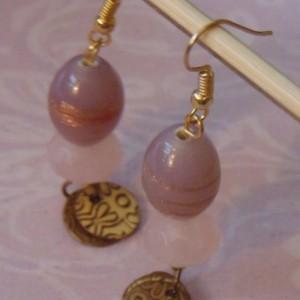 Light Purple Gold Sparkle Lampwork Bead Beveled Semi Precious Fluorite Bead Floral Tarnished Gold Discs Dangle Drop Earrings