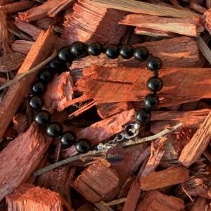 Men's black handmade glass beaded bracelet 7-8mm