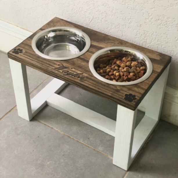 Personalized Dog Bowl Stand - Farmhouse