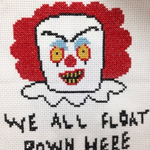 Pennywise IT Scary Clown Illustration Horror Cross Stitch DIY Kit Intermediate