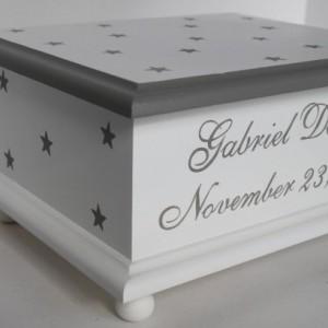 Baby Keepsake Box Memory Box grey stars baby gift gray