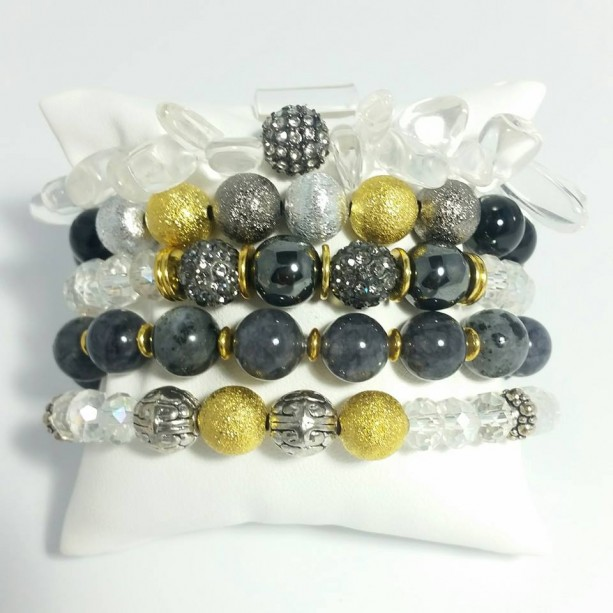 5 Piece 8mm and 10mm Crystal and Mixed Gemstone Stretch Bracelet Set