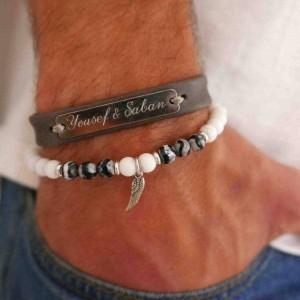 Men's Bracelet Set - Men's Personalized Bracelet - Men's Beaded Bracelet - Men's Engraved Bracelet - Men's Initial Bracelet -  Customized