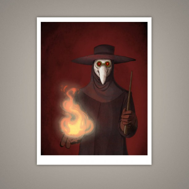 The Plague Doctor Giclee Illustration Art Print, 8x10, Horror, Macabre, Halloween, Eerie, Fire, Medicine Man, Historical, Matte Finish