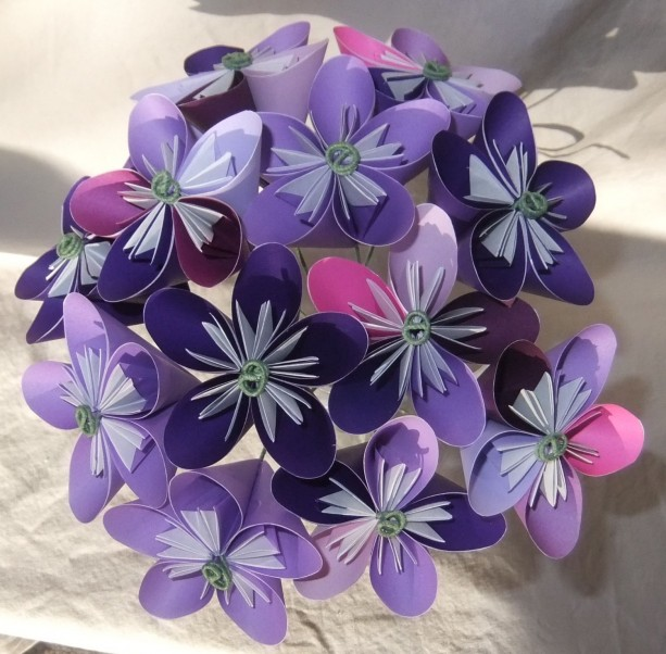 Purple Origami Flower Bouquet | aftcra