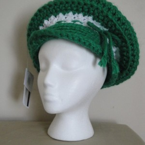 """Stunning Green and white Crocheted Beret-""""Dreaming of Ireland Beret"""", Elegant Green and White Crocheted Hat-""""Dreaming of Ireland"""""""