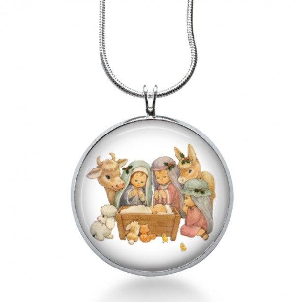 Christmas Nativity Necklace - Winter Jewelry - Religion Pendant - Holiday