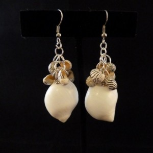 White Hawaiian Shell with Brazilian Zebra Shell Cluster Earrings