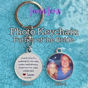 Father-of-the-Bride Gift|Photo Keychain|Personalized Photo Charm|Personalized Gift|Custom Wedding Gift|Keychain for Dad on Wedding Day