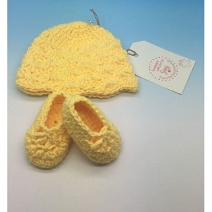 Crocheted preemie hat and shoes set