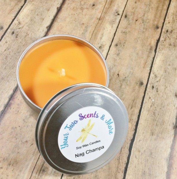 Nag Champa Scented Soy Candles, Homemade Candles, Meditation Candle, Yoga Candle, 8 Oz Candle Tins, Natural Soy Candles, Vegan Candles