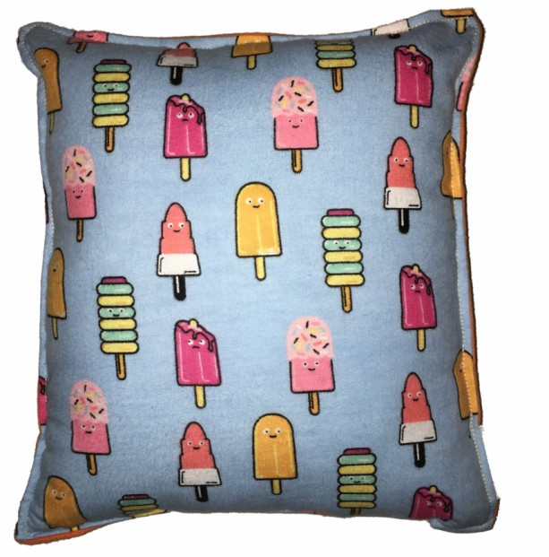 Ice Cream Pops Pillow Ice Pops Pillow Cute Soft Flannel Pillow Kid Safe 100% Hypoallergenic Square Pillow Handmade