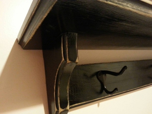 Coat hanger shelf in distressed black
