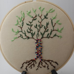 DNA Tree of Life Hand Embroidered 8 Inch Hoop, Beautiful Wall Hanging Fiber Art. Perfect for the Science Lover!