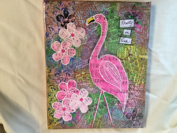 Mixed media Pretty in Pink Flamingo