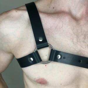 "Asymmetrical 1"" Black Leather Harness"