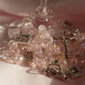 Women's Pink Glass Rosary Beads