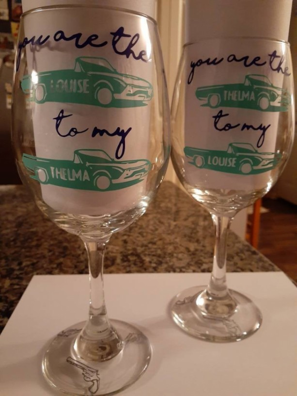 Thelma and Louise set of wine glasses, Best Friends