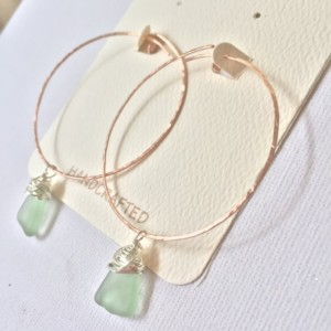 14k Rose Gold-Filled 2-inch Hoops with Sterling Silver Crazy-Wrapped Green Sea Glass, Genuine Hawaiian Sea Glass, Mermaid Tears