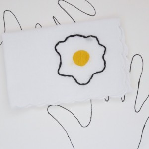 Hand Embroidered Egg Hankie by wrenbirdarts