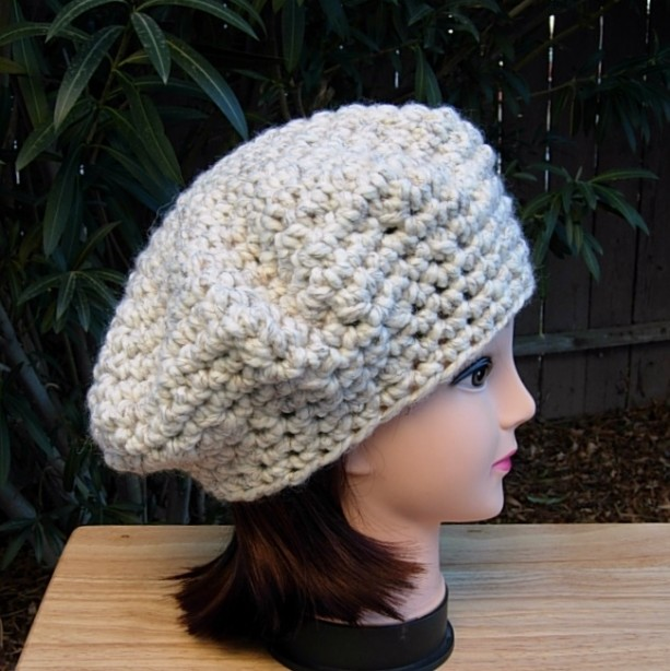 86ff8803a142d7 ... Off White Chunky Beret Cap, COLOR OPTIONS, Slouchy Hat, Thick Bulky  Warm Winter ...