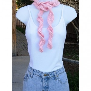 Women's Solid Light Peach Pink Skinny SUMMER SCARF Small Soft Acrylic Narrow Lightweight Twisted Crochet Knit Necklace, Ships in 2 Biz Days