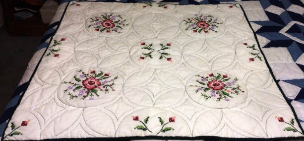 Cross-Stitched Wall Hanging, Red, Pink Roses on White
