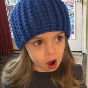 Beautiful crochet blue baby beanie