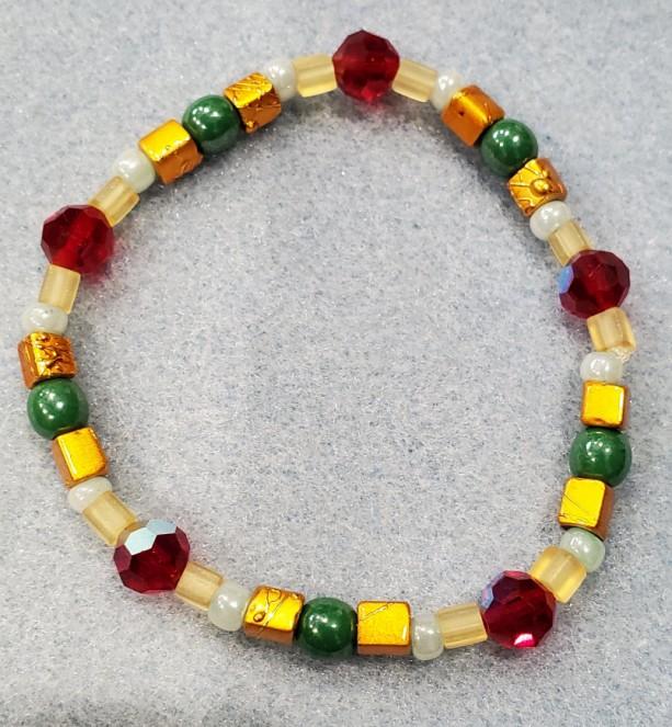 green copper red beaded bracelet
