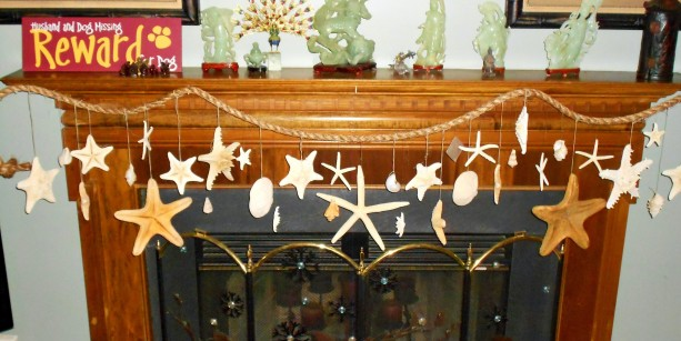 Large Starfish, Capri, Scallop, Seashells Hanging Rope Garland Swag Wall Door Window Curtain Decoration- Coastal Beach Decor Photo Prop