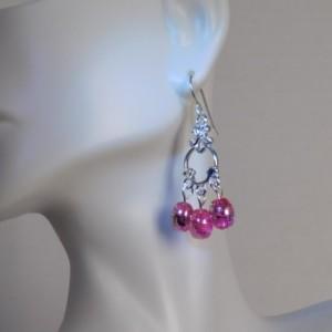 Pink Glass Dangle Earrings