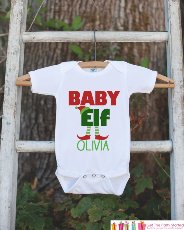 Baby Elf Christmas Outfit - Custom Holiday Onepiece or Shirt - Baby's First Christmas Elf Bodysuit - Santa Outfit - Kids Holiday Outfit