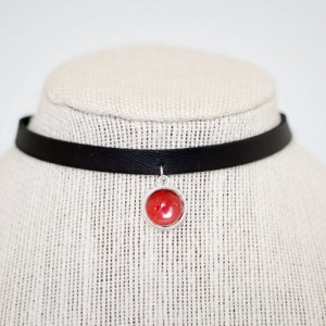 Real Butterfly Wing Necklace - Real Butterfly Jewelry - Black Choker - Choker Necklace - Charm Choker - Pendant Choker - Red Choker