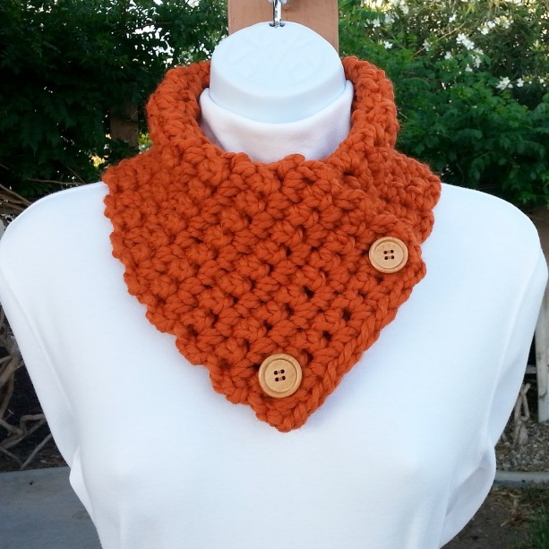 NECK WARMER SCARF, Solid Bright Burnt Orange Buttoned Cowl, Acrylic Wool Blend, Wood Buttons, Thick Crochet Knit..Ready to Ship in 3 Days