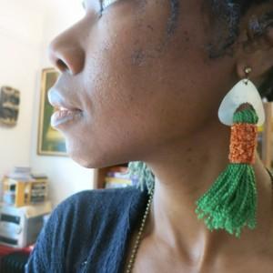 green fringe dangles soft streetstyle folk art