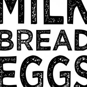Grocery List Art Print | Minimalist Kitchen Art Decor | Kitchen Wall Art | Milk Bread Eggs | Modern Kitchen | Kitchen Poster