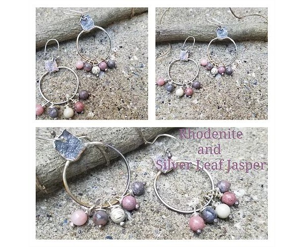 Rhodenite,silver leaf jasper and Sterling silver earrings