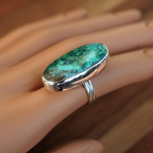 "Genuine AZURITE with ""WOW POWER"" Solid Sterling Silver Ring / Finger Size 5.5"