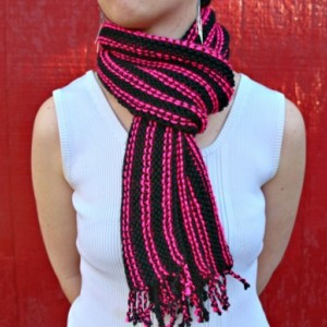 Black & Pink striped scarf