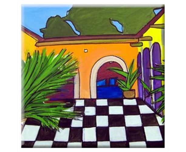 Mexican Folk Art - VILLA #2 - TILE Signed By Artist A.V.Apostle