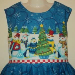 NEW Handmade Christmas Snowman Border Jumper Dress Custom Sz 12M-14Yrs