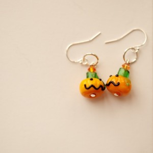"Little ""Lit"" Pumpkin Head Earrings (sterling)"