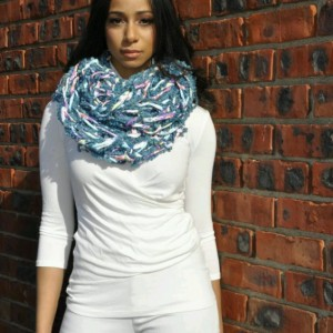 Multi Light Blue Combo / MultiColor /Arm Knit / Handmade / Infinity / Hood  /  Loop /  Scarf