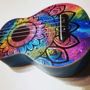Soprano Rainbow Galaxy Mandala Ukulele, Hand Painted Ukulele, Decorated guitar, Rainbow Ukulele,instrument, concert, tenor, baritone, guitar