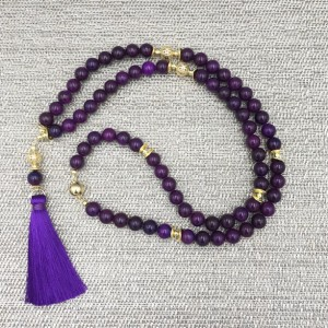 Long Statement Tassel Necklace, Jade Tassel Necklace, Long Necklace, Beaded Necklace, Long Purple Statement, Purple Statement Necklace