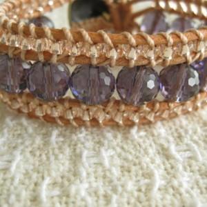 Leather beaded cuff bracelet in amethyst and peach Wrap bracelet, designer look