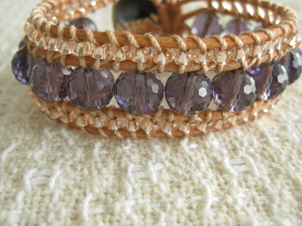 Leather beaded cuff bracelet in amethyst and peach Wrap bracelet, designer look